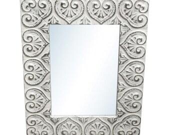 Heart 4.5 in. tin framed mirror