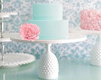 "Cake Stand / Cake Dish / Cake Plate Pedestal / 12"" Cupcake Stand / Hobnail Milk Glass Base w/ Ceramic -like Cake Plate"