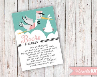"""BOOKS FOR BABY / Insert Card for Baby Shower / """"Bring a Book instead of a Card"""" - Retro Stork - Pink & Mint Printable Digital File Download"""