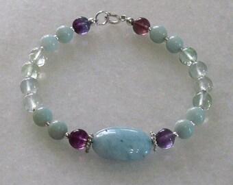Mercury retograde protection bracelet with Aquamarine, fluorite and amazonite