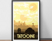Tatooine Vacation Poster - 12 x 18 inches - Star Wars - Sand People - Jawa - A New Hope