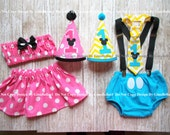 Minnie Mouse Birthday outfit cake smash Baby Mickey girl pink skirt or boy blue diaper cover bow tie Hat brother sister 12 18 24 toddler
