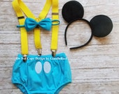 Mickey Mouse Birthday outfit baby costume cake smash suspenders baby blue clubhouse diaper cover bowtie 12 18 24 toddler Ready To Ship SALE