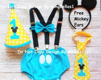 Mickey Mouse Birthday outfit cake smash baby blue outfit Free Ears Black suspenders I am One Hat diaper cover bow or tie 9 12 18 24 toddler