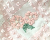 RESERVED for June - Vintage Chenille 'Pink Posies' ~ Chenille Lap Quilt in Pink and White ~ Adorable