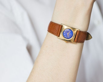 Square women watch, mechanical watch her, gold plated woman watch blue, small watch Seagull rare, lady watch 60s, genuine leather strap new