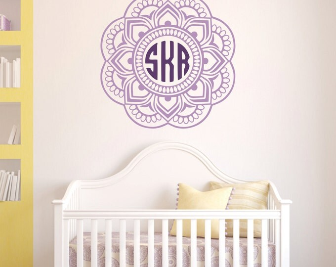 Mandala Monogram Sticker -   Nursery Wall Decals -  Mandala Wall Decals - Made in the USA