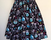 Day Of The Dead Cats Knee Length Skirt