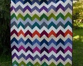 FREE SHIPPING Chevron quilt, twin quilt, modern quilt, colorful quilt, handmade quilt, quilted blanket, Zig Zag Quilts, shot cottons
