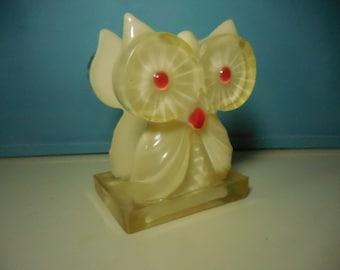 Mid Century White and Orange Lucite Owl Napkin Holder