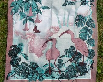 Thai Silk Scarf Flowers Ibis Birds Pink Dusty Rose