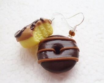 Doughnut Earrings.  Polymer Clay.