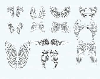 Hand Drawn Angel Wings VG-011 Digital Clipart Printable Images Vectors Graphics Fairy Feather Art Journal Line art Doodle Sketched