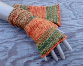 fingerless gloves, knitted arm warmers, knit orange green fingerless, women gloves, knitting gauntlets, autumn accessories, winter mittens