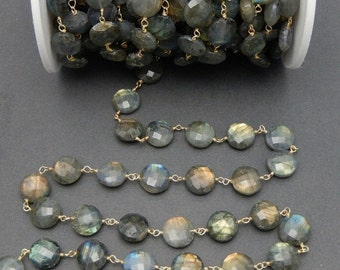 35% off Wholesale Large Round Labradorite on Gold Over Sterling Wire Wrapped chain-- 12mm Labradorite Beaded Chain-- by foot (CHN-483)