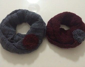 Mommy and Me Infinity Scarf With Flower