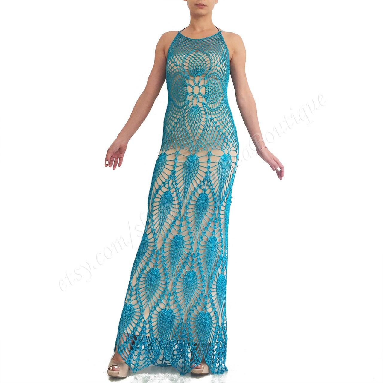 Crochet maxi dress Evening dress Beach dress Bohemian