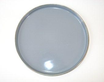 Heavy Stainless Grey Enamelware Dinner Plate or Bar Tray - Graniteware Enamel Camping Picnic Dish