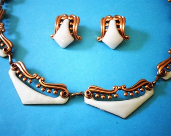 fancy MATISSE Copper NECKLACE EARRINGs Set White Enamel, Pattern: VENEZIA, Venice Renoir Vintage Jewelry