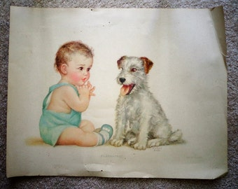 """sale color PRINT by CHARLOTTE BECKER Baby & Dog terrier?  Title """"Playmates""""  attributed to '50's Picture"""