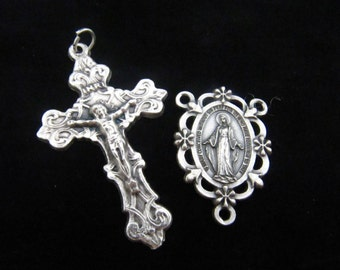 Beautiful Ornate Italian Made Crucifix with Matching Miraculous Medal with Roses Rosary Center