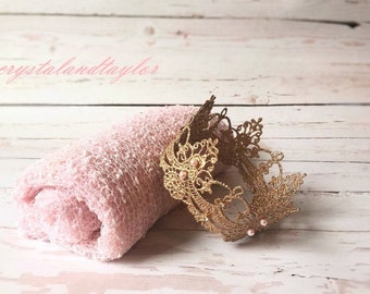 Light Pink Newborn Stretch Wrap and Gold Crown, Newborn Crown, Baby Crown and Wrap Set, Newborn Props, Baby Tiara, Baby Halo, Newborn Wrap