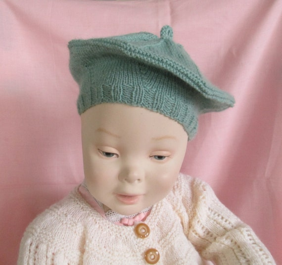 Knitted Beret Pattern Toddler : Baby Toddler Beret 12M 2T Tam Hand Knit Hat Boy Girl by SwanAvenue