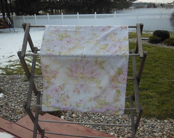 Vintage floral pillowcase with pink and yellow flowers and green leaves, bedding, linens, vintage pillowcase