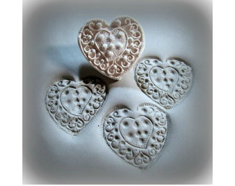 Handcarved  bisque stamp, heart with flowers,   for stamping on stoneware clay, polymer clay, metal clay, crafts, and fondant foods ( 220 )