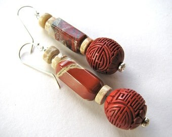 Dangle earrings, Carnelian with Cinnebar, 2 inches long, Sterling findings - 85