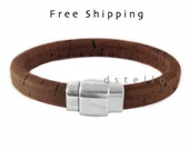 Spanish cork mens bracelet - Cuff, bangle, armband gift - Silver color magnetic clasp - Thick cork wrapped around a leather core - Quality