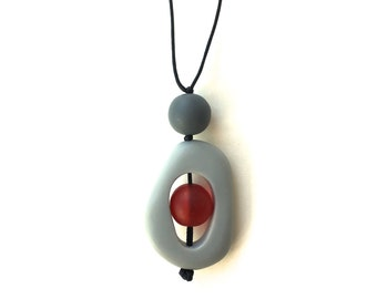 Nursing Jewelry - Nursing Necklace, Breastfeeding Beads-  Twiddle Buster Breastfeeding Necklace - Grey, Red