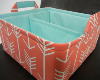 "Ex LG Diaper Caddy(choose Basket Lining COLORS) 12""x12""x6""- One Divider -Baby Gift-Fabric Storage Organizer-""Coral Arrow/Aqua Lining"""