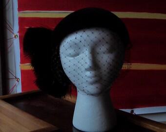 Vintage Merimack Velour Brown Net And Ostrich Feather Hat Headband 1950s 1960s  VEIL COCKTAIL FASCINATOR Headpiece