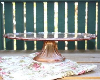 Vintage Pink Glass Pedestal Cake Stand - Antique Cake Plate