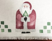 Small Christmas Table Cloth - Folk Art Santa Table Runner - Buffet Decor - Primitive Country Christmas Decoration - Christmas Table Decor