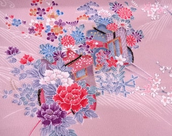 Vintage Japanese silk kimono fabric 92 cm x 36 cm silk crepe floral pattern