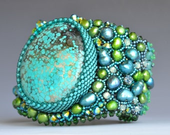 Green and Blue bead embroidered bracelet