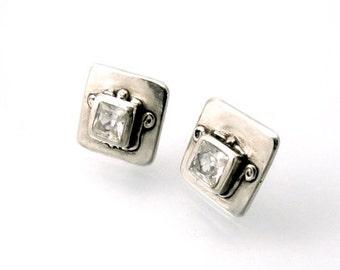 Sterling, Post Earrings, CZ, CZ Earrings, CZ Studs, Cz Posts, Stud Earrings, Silver Studs, Silver Posts, White Cz, Square Earring, 1159a