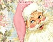 Shabby Chic Style Pink Santa Fabric Block - Art Print