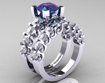 Modern Vintage 14K White Gold 3.0 Ct Alexandrite White Sapphire Designer Wedding Ring Bridal Set R142S-14KWGWSAL
