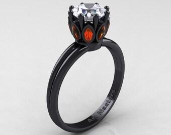 Elizabeth II - Classic 14K Black Gold Marquise Orange Sapphire 1.0 Ct Round Diamond Solitaire Ring R90-14KBGOSD