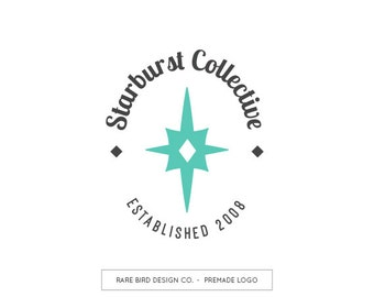 Premade Logo Design | Business Branding | Starburst Logo | Midcentury Logo | Retro Logo