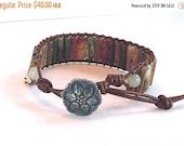 Clearance Sale Gemstone Wrap Bracelet - Leather Cord Bracelet - Fancy Jasper Barrels - Metal Button Clasp - Handmade