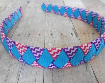 Purple Pink Turquoise Chevron Woven Headband Girls Headband Ladies Headband