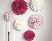 Custom Vintage Two-Toned Pom-Pom Flowers with Fluffing
