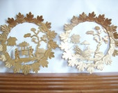 Vintage Chinoiserie Wall Art, Gold Cut Tin, Hollywood Regency Decor, Mid Century Wall Hanging