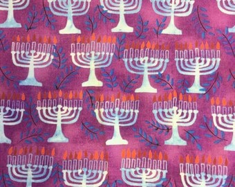 Free Spirit Chanukah Menorah purple cotton craft fabric by the half metre.