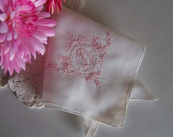 D Monogramed Vintage Handkerchief Bride's Wedding Hanky in Off White with Pink Initial Wedding Keepsake Something Old Bridal Shower Gift