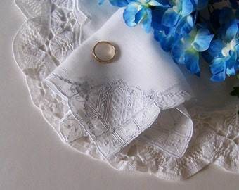 Wedding Handkerchief Gift for a Bride, Vintage Hanky Blue Embroidery Wedding Keepsake for Happy Tears, Something Blue Shower Gift
